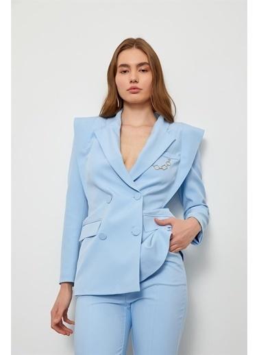 Setre Bebe Mavi Sivri Omuzlu Ceket Pantolon Takım Mavi